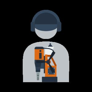 Icon Mensch an Magnetbohrmaschine